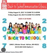 Back to School Immunization Clinics
