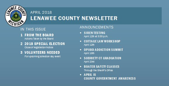 April NEWSletter from Lenawee County
