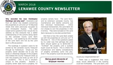 Cover of the March 2018 Newsletter, green highlights, county seal