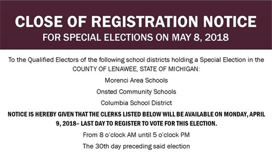 Close of Registration NOTICE